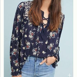 Anthropologie Sydney Floral Embroidered Top